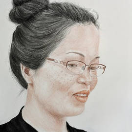 Jim Fitzpatrick - Freckle Faced Beauty with Glasses and Her Hair up