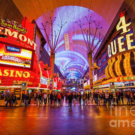 Fremont Street Experience At Night In Las Vegas by Bryan Mullennix
