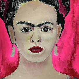 Frida Kahlo in pink by Rosa Lopez