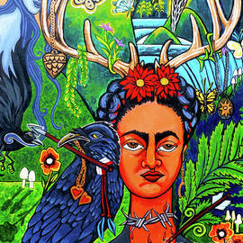 Frida Kahlo With Ravens Portrait by Genevieve Esson