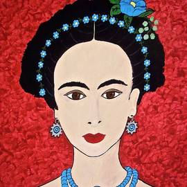 Stephanie Moore - Frida with Blue Flowers