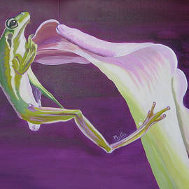 Frog and his flower by Phyllis Kaltenbach