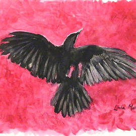 Linda  Marie Carroll - Frolicking Raven in Rose