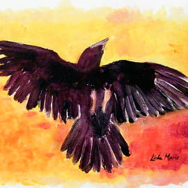 Linda  Marie Carroll - Frolicking Raven in Yellow