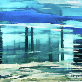 Regina Geoghan - Frosted River Abstract in Blues