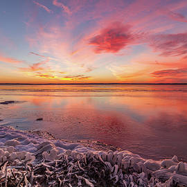 Art Of Frozen Time - Frozen Sunset over Rend Lake