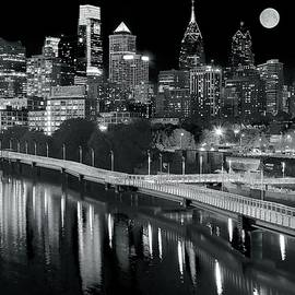 Frozen in Time Fine Art Photography - Full Moon Black and White in Philly