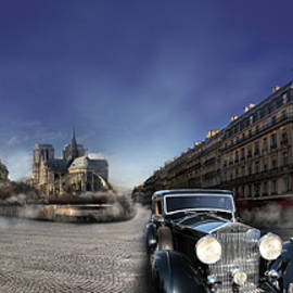 Radoslav Nedelchev - Full moon in Paris with classic car passing