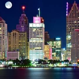 Frozen in Time Fine Art Photography - Full Moon over Detroit