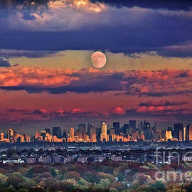 Full Moon over New York City in October by Yuri Lev