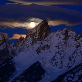 Raymond Salani III - Full Moon Sets Over the Grand Teton