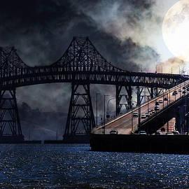 Wingsdomain Art and Photography - Full Moon Surreal Night At The Bay Area Richmond-San Rafael Bridge - 5D18440