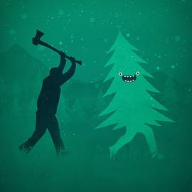 Funny Cartoon Christmas tree is chased by Lumberjack Run Forrest Run