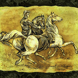 Grace Iradian - Galloping Horses and Rider-amber collection