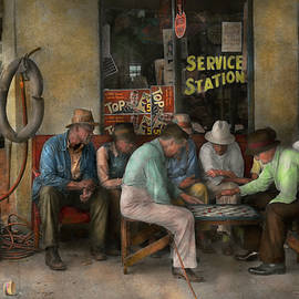 Mike Savad - Gas Station - Playing checkers together 1939
