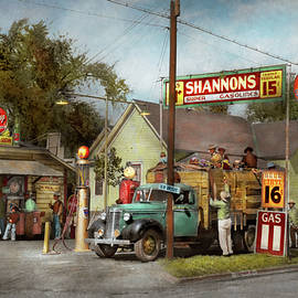 Gas Station - Shannon's super gasolines 1939 by Mike Savad