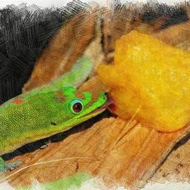 Gecko Enjoying Peaches by Pamela Walton