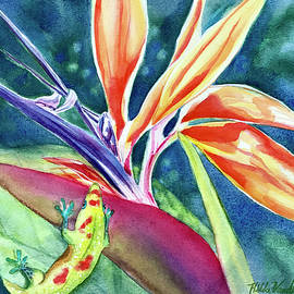 Gecko on Bird of Paradise by Hilda Vandergriff