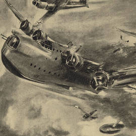 German fighter shooting down a Short Sunderland flying boat, World War II  - German School