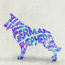 German Shepherd Dog Watercolor Painting / Typographic Art - Ayse and Deniz