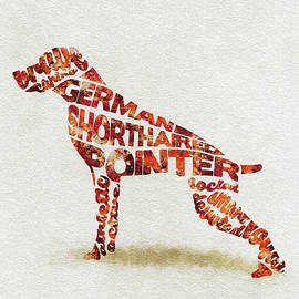 German Shorthaired Pointer Watercolor Painting / Typographic Art - Ayse and Deniz