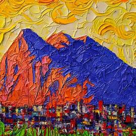 Gibraltar The Rock Contemporary Impressionism Impasto Palette Knife Oil Painting  Ana Maria Edulescu