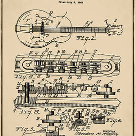 Gibson Electric Guitar Bridge Patent 1956 Sepia by Bill Cannon