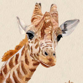 Giraffe Portrait by Angeles M Pomata