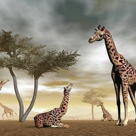 Giraffes in the savannah - 3D render by Elenarts - Elena Duvernay Digital Art