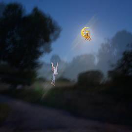 Girl and moon by   larisa Fedotova