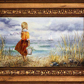 Girl And Ocean In Vintage Frame by Irina Sztukowski
