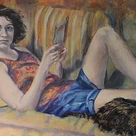 Girl, Book and Cat by Paula Noblitt