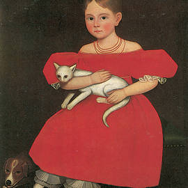 Ammi Phillips - Girl in Red with Her Cat and Dog