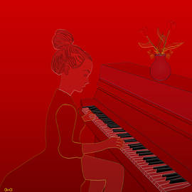 Girl playing piano by Anna Elia