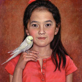 Girl with Bird by Jane Bucci