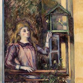 Girl with Birdcage  - Paul Cezanne
