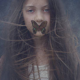 Girl With Butterfly Over Lips by Stephanie Frey