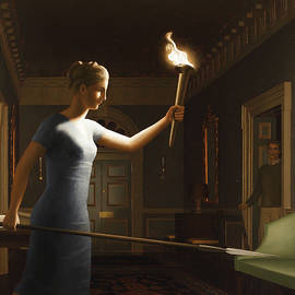 Girl With Torch by Harry Steen