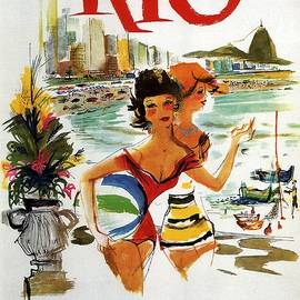 Girls on the Rio Beach - Vintage Illustrated Poster - Studio Grafiikka