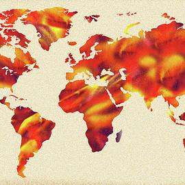 Global Warming Watercolor Map Of The World - Irina Sztukowski