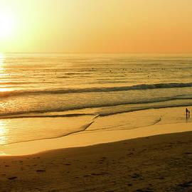 Georgia Mizuleva - Glossy Gold and Surfers - Sunset on the Beach in California