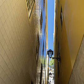 Georgia Mizuleva - Glossy Uphill Reflections - Golden Yellow Tile Mirror Reflecting the Sky