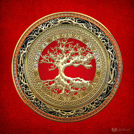 Gold Celtic Tree Of Life On Red