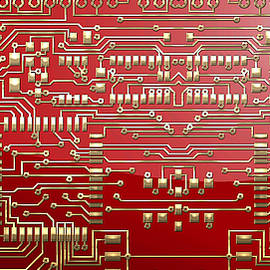 Gold Circuitry on Red