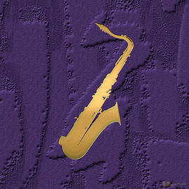 Gold Embossed Saxophone on Purple