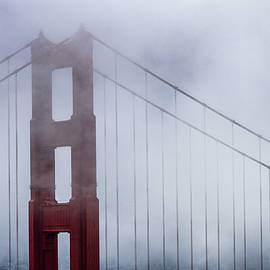 Golden Gate Bridge Top In The Fog by Teri Virbickis