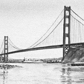 Golden Gate San Francisco Black And White Watercolor - Irina Sztukowski