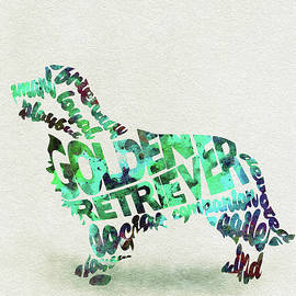 Golden Retriever Dog Watercolor Painting / Typographic Art - Ayse and Deniz