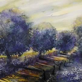 David K Myers - Golden Road Watercolor