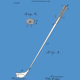 golf club patent drawing blue 2 - Bekim Art